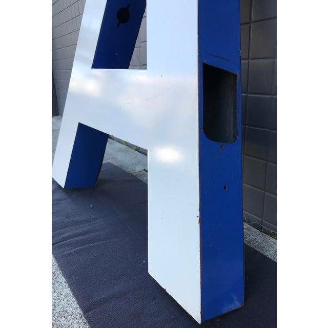 """Large Vintage Blue & White Enamel Metal """"L"""" Building Signage For Sale In San Francisco - Image 6 of 12"""