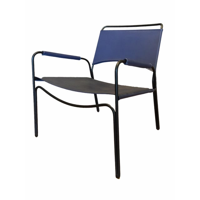 Blue Modern Trace Leather Lounge Chair by m.a.d. Furniture For Sale - Image 8 of 8