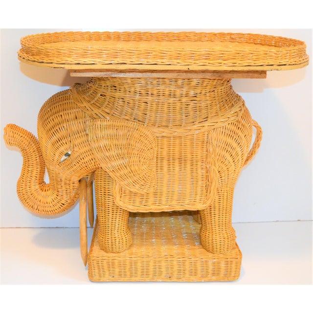 Boho Chic Wicker Rattan Elephant Tray Table (Final Markdown Taken) For Sale - Image 12 of 13