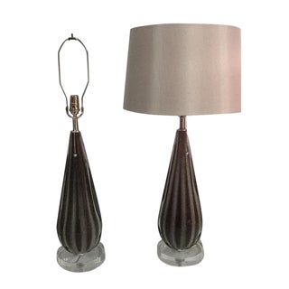 Alfredo Barbini Murano Table Lamps - A Pair For Sale
