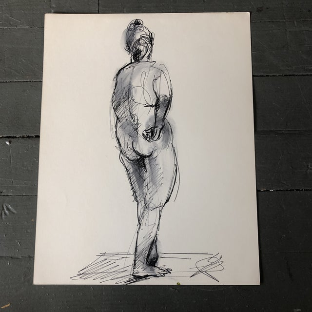 1970s Vintage Original Ink Wash Female Nude Double Sided Painting For Sale - Image 5 of 5