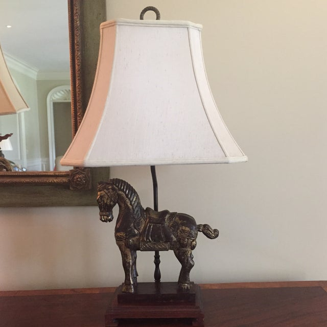 Antique Wooden Trojan Horse Table Lamp - Image 2 of 8