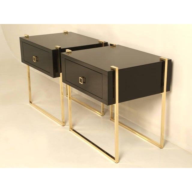 Brass Custom Black Glass and Brass Nightstands - a Pair For Sale - Image 7 of 7