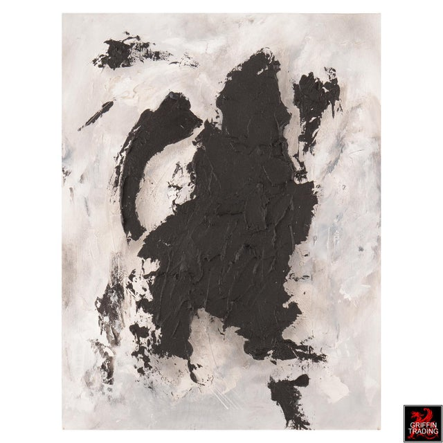 This bold black and white abstract expressionist painting is titled BLACK MATTER. It's striking appearance has the look of...