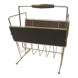 Mid-Century Brass and Wood Magazine Rack For Sale