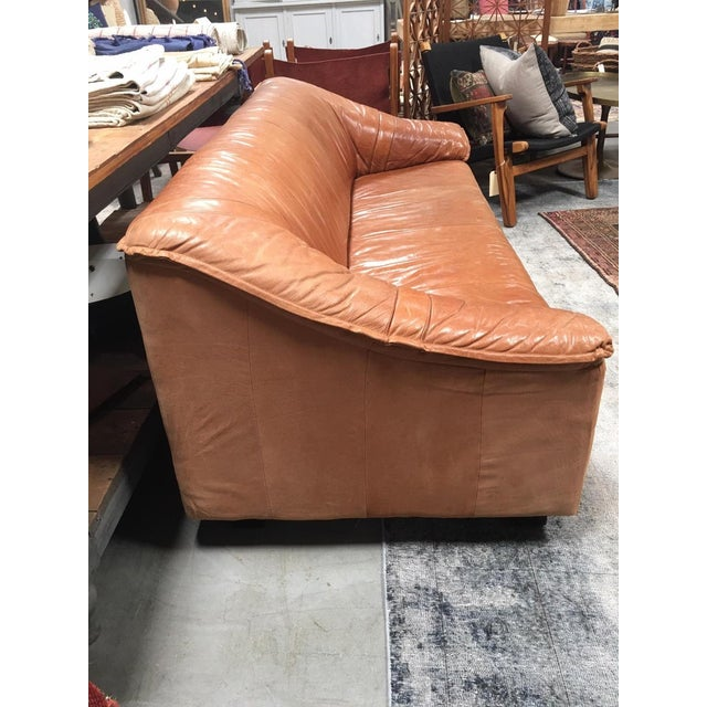 Mid Century Leather Sofa For Sale - Image 4 of 6