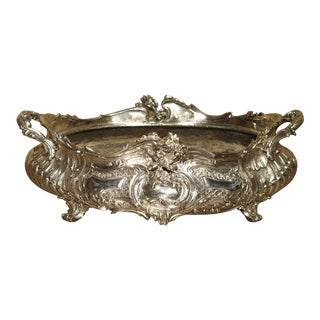 Antique Silvered Bronze Jardiniere From France, 19th Century For Sale