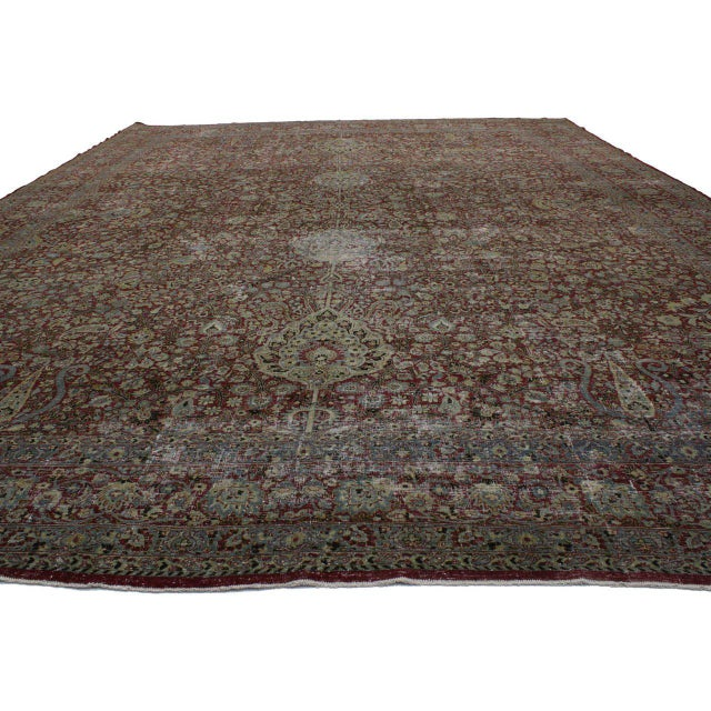 Textile Distressed Antique Persian Kerman with Modern Industrial Style For Sale - Image 7 of 8