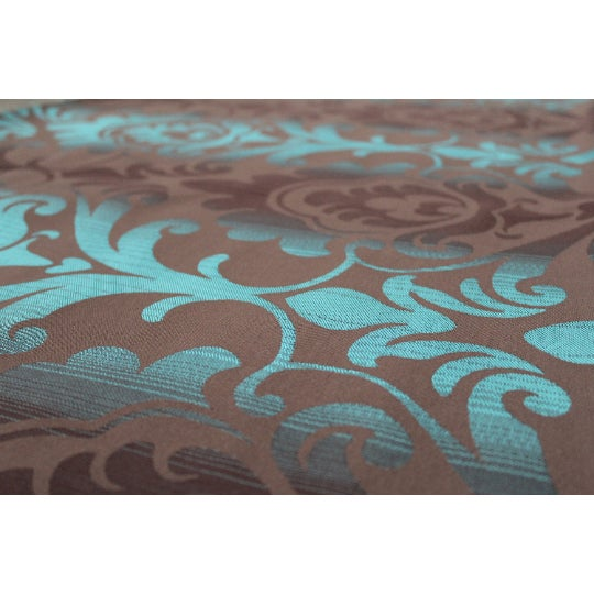 Art Deco Brown & Teal Paisley Patterned Wallcovering For Sale - Image 4 of 4