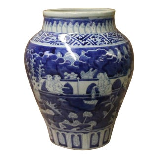 Chinese Blue White Oriental Scenery Porcelain Pot Vase For Sale