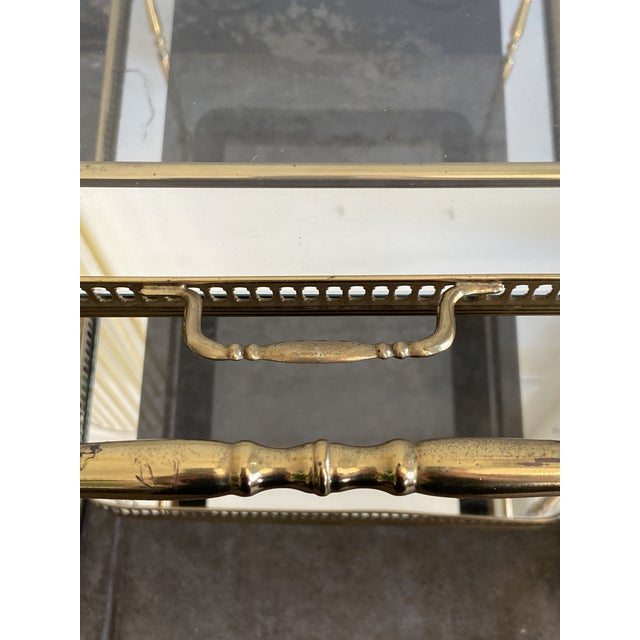 Vintage Brass Bar Cart with Tray For Sale - Image 10 of 12