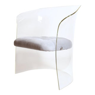 Vladimir Kagan 1960s Formed Lucite Chair With Tufted Seat For Sale