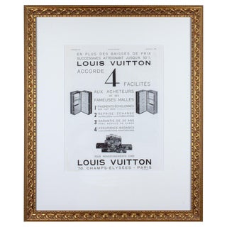 1930s Framed French Louis Vuitton Luggage Print Ad