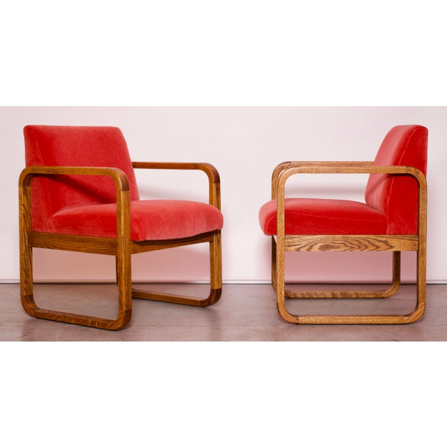 Red 1970s Mid-Century Modern Crimson Mohair Accent Chairs - a Pair For Sale - Image 8 of 13