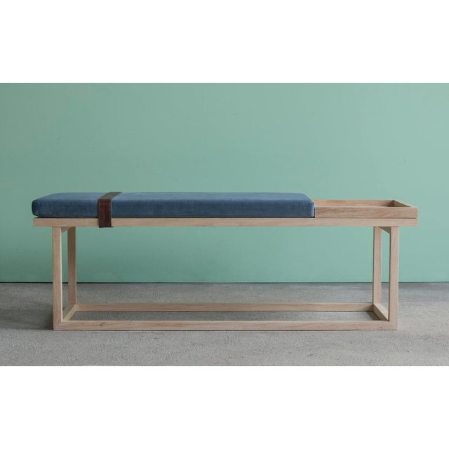 Ebb and Flow Tray Bench in Violet Grey Velvet For Sale In New York - Image 6 of 6