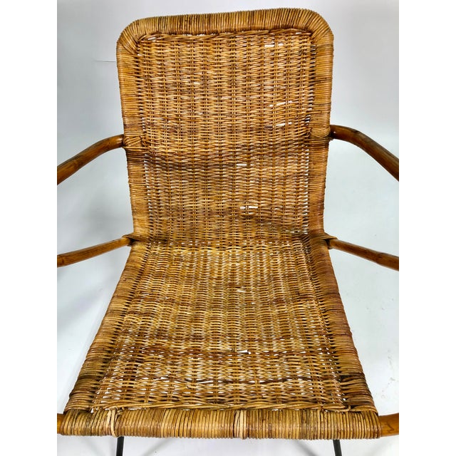 Mid Century Italian Rattan Lounge Chair For Sale - Image 11 of 12