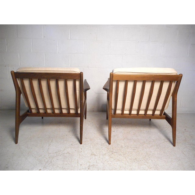 Ib Kofod-Larsen Danish Modern Lounge Chairs and Ottoman by Kofod-Larsen For Sale - Image 4 of 13