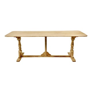 19th C. Bleached Oak Trestle Dining Table For Sale