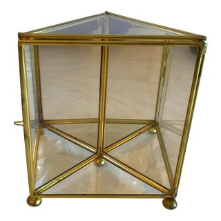Vintage Brass and Glass Petite Mirrored Curio Box For Sale