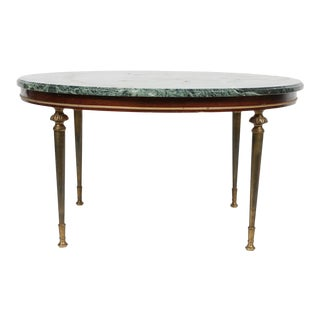 Mid-Century Empire Style Green Marble Top Cocktail Table For Sale