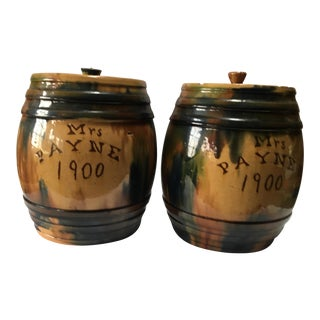 1900 Antique English Pottery Jars - a Pair For Sale