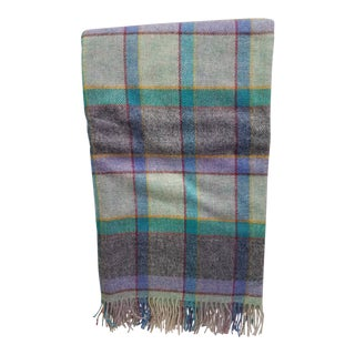 Wool Throw Blues, Yellow, Black, Red, Green and Purple in Different Sized Stripes - Made in England For Sale