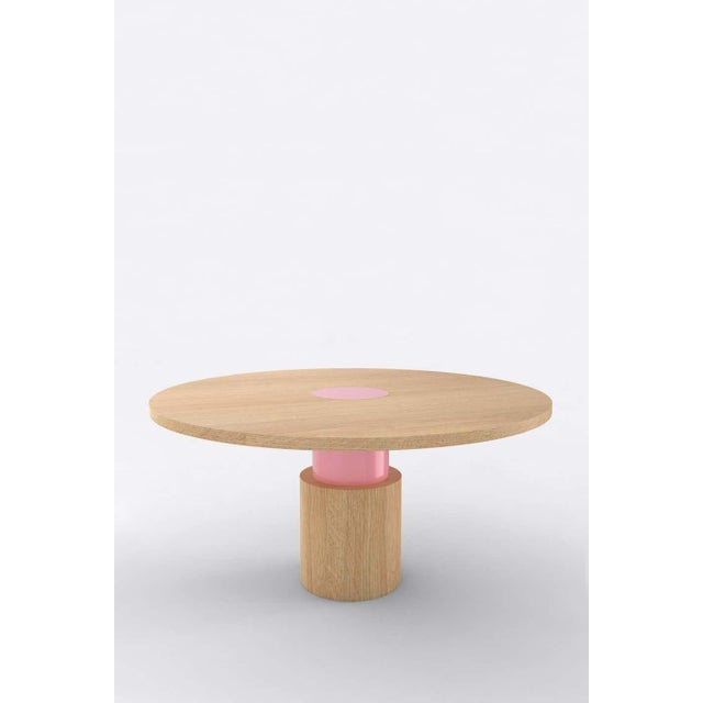 Postmodern Contemporary 100C Dining Table in Oak and Pink by Orphan Work, 2020 For Sale - Image 3 of 3