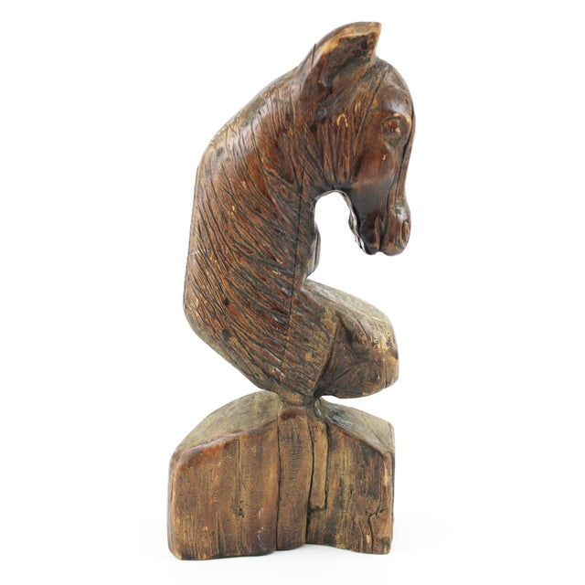 Brown Rustic Carved Wood Horse Head Sculpture, 1908 For Sale - Image 8 of 8
