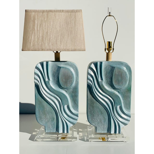 1980s Brutalist Style Plaster Lamps - a Pair For Sale - Image 12 of 12