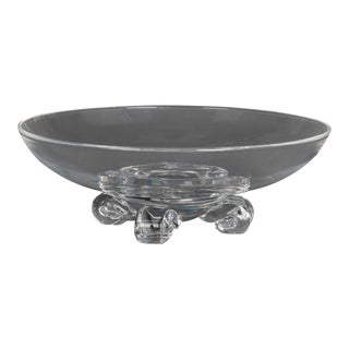Steuben Glass Works Scroll Foot Crystal Low Center Bowl, Signed, circa 1960 For Sale