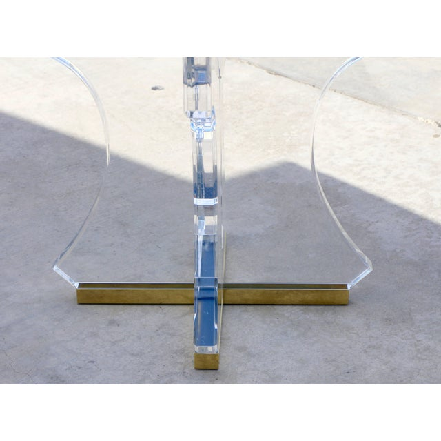 Mid 20th Century Lucite and Glass Dining Table With Brass Base For Sale - Image 5 of 10