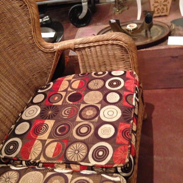 Late 20th Century 20th Century Country Wicker Settee With Groovy Fabric For Sale - Image 5 of 8