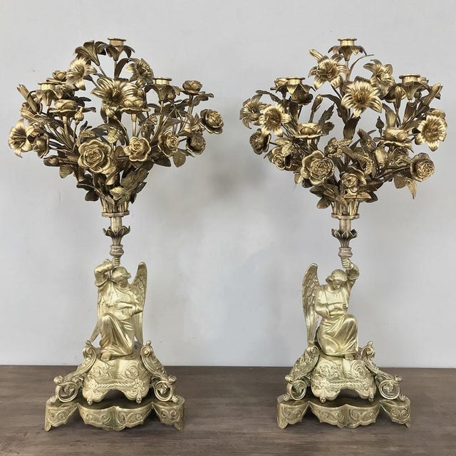 Pair 19th Century Bronze Candlesticks With Angels ~ Napoleon III Period For Sale - Image 13 of 13
