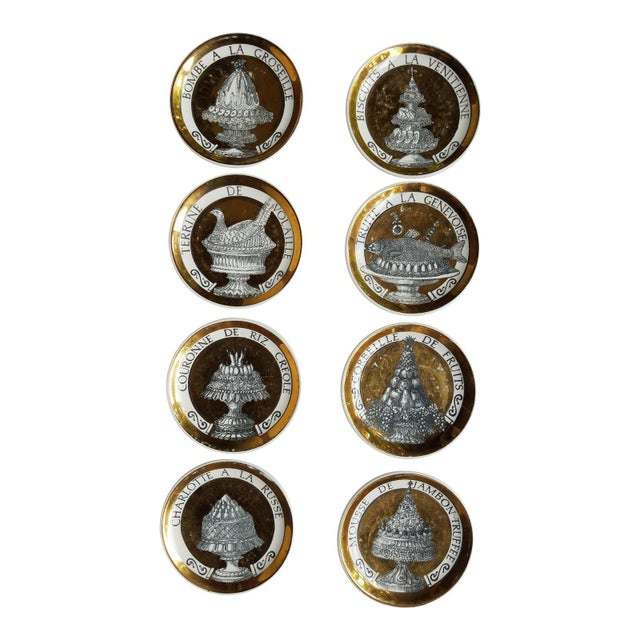 "Gold 1960's Piero Fornasetti Black and Gold Coasters ""Pranzo Alle Otto"" - Set of 8 For Sale - Image 8 of 12"