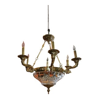 Antique French Empire Ornate Brass Etched Crystal Dome 6 Arm Chandelier For Sale