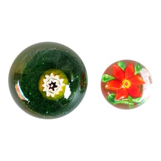 "Late 20th Century Two Glass Paper Weights - Millefiori & Red Poinsettia Flower 2.5"" & 1.75"" Paperweight For Sale"