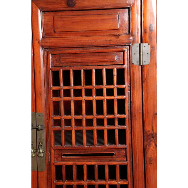 Tall 19th Century Chinese Kitchen Cabinet With Fretwork Upper Doors For Sale In New York - Image 6 of 11
