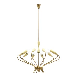 Ten-Arm Italian Brass Chandelier by Lumi Milano, 1950s For Sale
