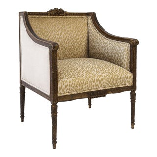 Hand-Carved Louis XVI Bergere For Sale