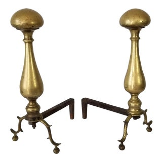 Vintage Brass and Metal Fireplace Andirons - a Pair For Sale