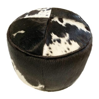 Black and White Cowhide Pouf Ottoman For Sale
