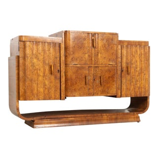 English Art Deco Epstein Brothers (Attr.) Burl Bar Cabinet For Sale