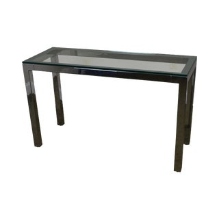 1970s Vintage Milo Baughman Mid-Century Modern Chrome & Glass Console Table For Sale