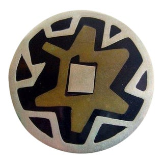 Mexican Modernist Sterling Brass + Onyx Abstract Brooch For Sale