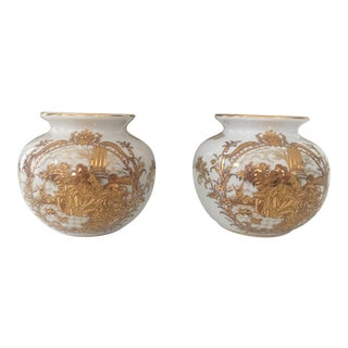 Vintage French Limoge Painted Gold Vases - A Pair