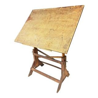 Vintage Industrial Tilting Wood Drafting Table
