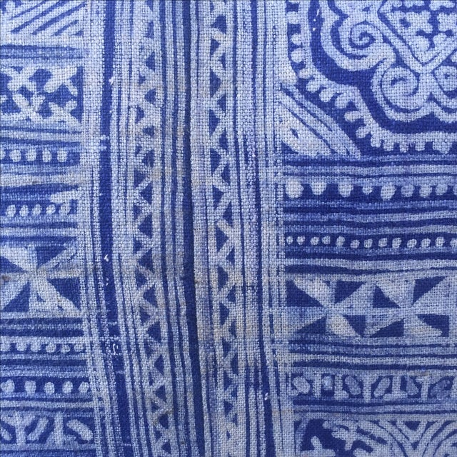 Indigo Blue & White Batik Cotton Pillow - Image 3 of 5