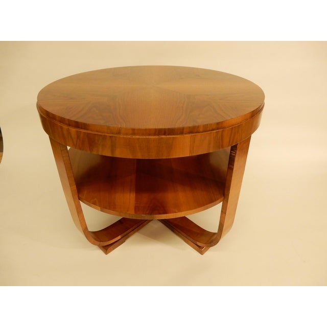 Walnut 1930's Round Art Deco Table For Sale - Image 7 of 7