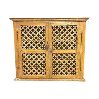 20th Century Country Latticework Wall Cabinet For Sale