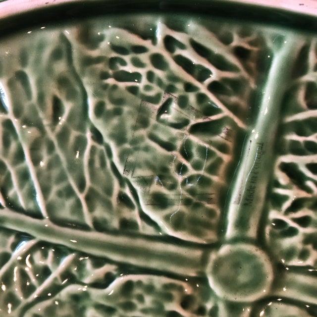 Ceramic Traditional Oval Cabbage Leaf Platter For Sale - Image 7 of 10